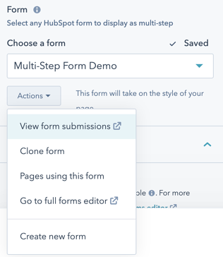 """Select """"Go to full forms editor"""" from the Actions submenu"""